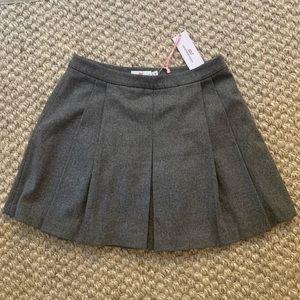 Heather Grey Wool Pleated Skirt